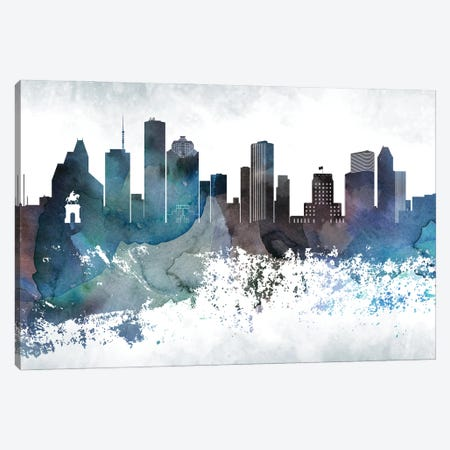 Houston Bluish Skylines Canvas Print #WDA144} by WallDecorAddict Canvas Art Print