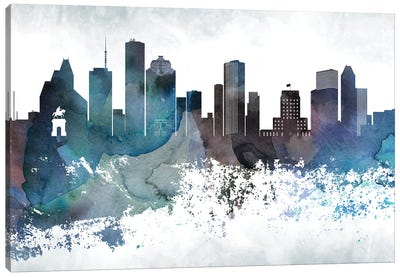 Houston Bluish Skylines Canvas Art Print