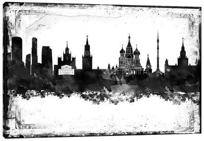 Moscow Black & White Film Canvas Art Print