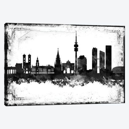 Munich Black & White Film Canvas Print #WDA1452} by WallDecorAddict Art Print