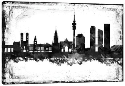 Munich Black & White Film Canvas Art Print