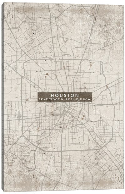 Houston City Map Abstract Canvas Art Print