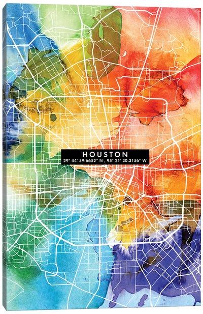 Houston City Map Colorful Canvas Art Print
