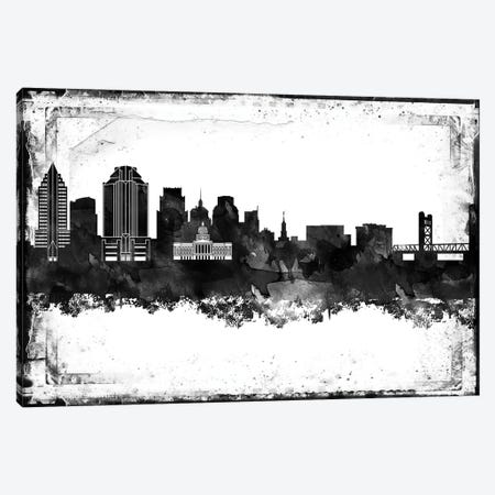 Sacramento Black & White Film Canvas Print #WDA1472} by WallDecorAddict Canvas Art Print