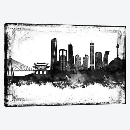 Seoul Black & White Film Canvas Print #WDA1474} by WallDecorAddict Canvas Art