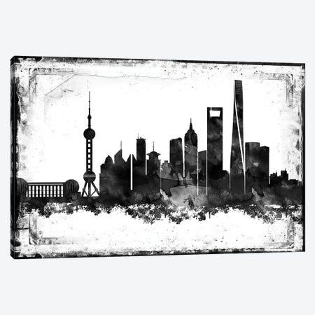 Shanghai Black & White Film Canvas Print #WDA1475} by WallDecorAddict Canvas Wall Art