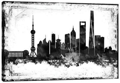 Shanghai Black & White Film Canvas Art Print