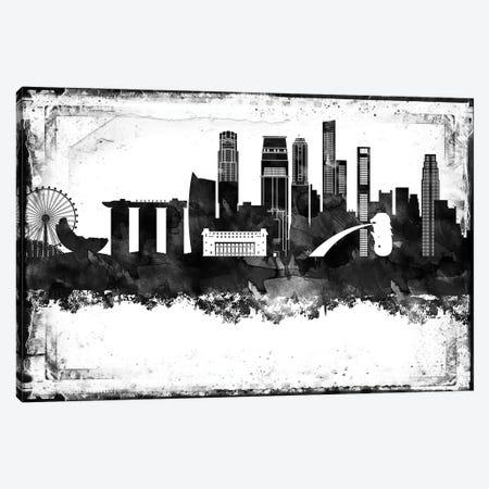 Singapore Black & White Film Canvas Print #WDA1476} by WallDecorAddict Canvas Art