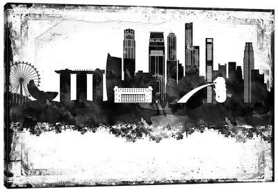 Singapore Black & White Film Canvas Art Print