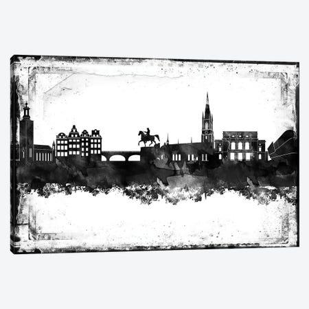 Stockholm Black & White Film Canvas Print #WDA1477} by WallDecorAddict Canvas Wall Art