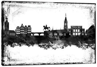 Stockholm Black & White Film Canvas Art Print