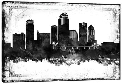 Tampa Black & White Film Canvas Art Print