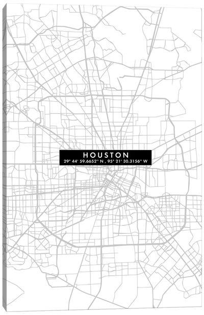 Houston City Map Minimal Canvas Art Print