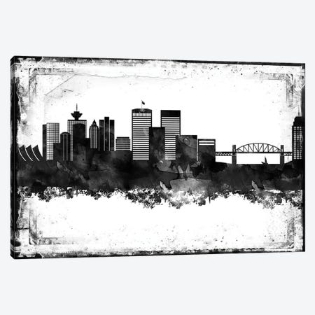 Vancouver Black & White Film Canvas Print #WDA1482} by WallDecorAddict Canvas Art