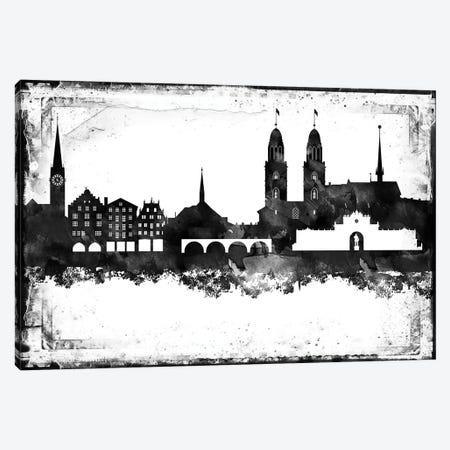 Zurich Black & White Skyline Canvas Print #WDA1489} by WallDecorAddict Canvas Wall Art