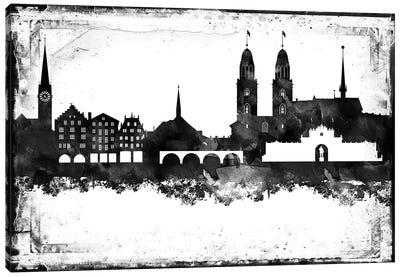 Zurich Black & White Skyline Canvas Art Print