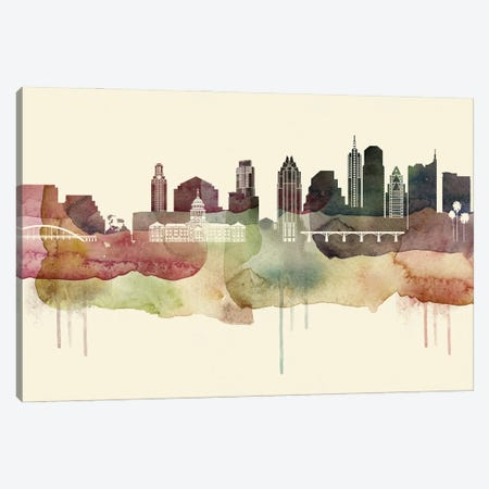 Austin Desert Style Skyline Canvas Print #WDA1495} by WallDecorAddict Canvas Wall Art