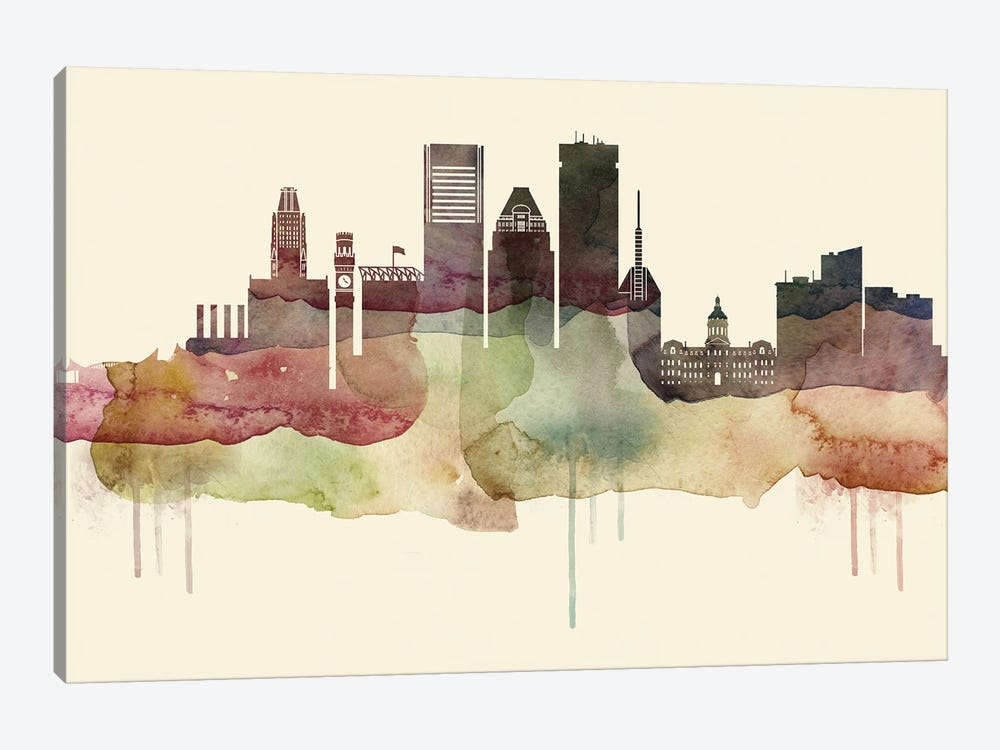 Baltimore Desert Style Skyline by WallDecorAddict 1-piece Canvas Artwork