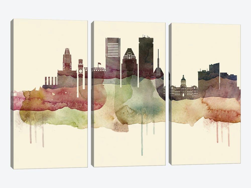 Baltimore Desert Style Skyline by WallDecorAddict 3-piece Canvas Art