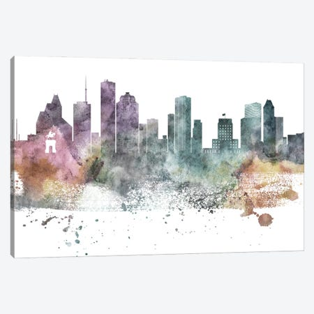 Houston Paste Skylines Canvas Print #WDA149} by WallDecorAddict Canvas Artwork