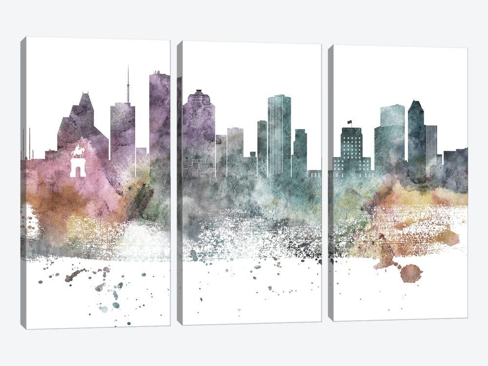 Houston Paste Skylines by WallDecorAddict 3-piece Canvas Art Print