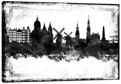 Amesterdam Black And White Framed Skylines Canvas Art Print