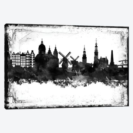 Amesterdam Black And White Framed Skylines Canvas Print #WDA14} by WallDecorAddict Canvas Art Print