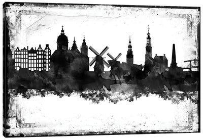 Amesterdam Black And White Framed Skylines Canvas Art Print