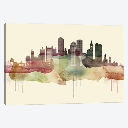Boston Desert Style Skyline Canvas Print #WDA1500} by WallDecorAddict Canvas Art Print