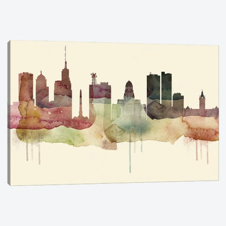 Buffalo Desert Style Skyline Canvas Print #WDA1504} by WallDecorAddict Canvas Artwork