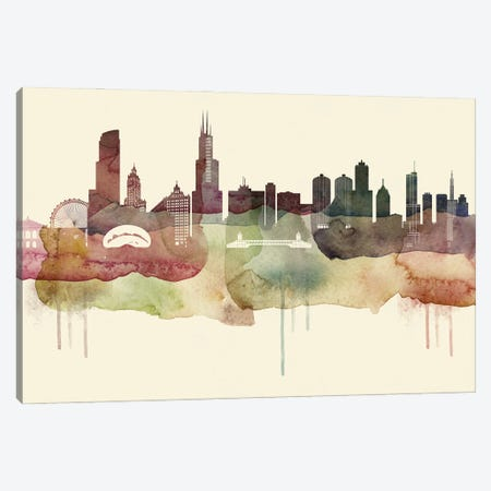 Chicago Desert Style Skyline Canvas Print #WDA1508} by WallDecorAddict Canvas Art Print