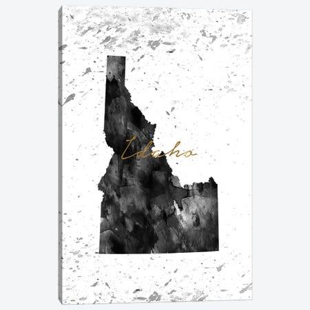 Idaho Black And White Gold Canvas Print #WDA151} by WallDecorAddict Canvas Art Print