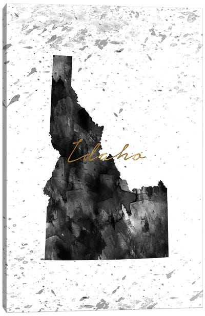 Idaho Black And White Gold Canvas Art Print
