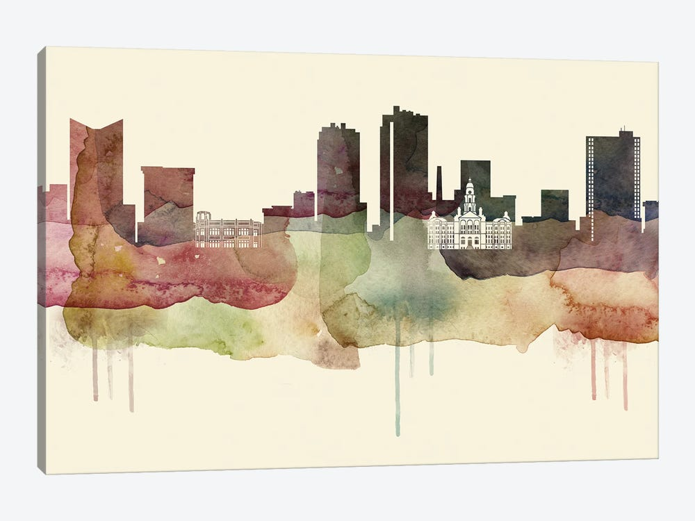 Fort Worth, Texas Desert Style Skyline by WallDecorAddict 1-piece Art Print