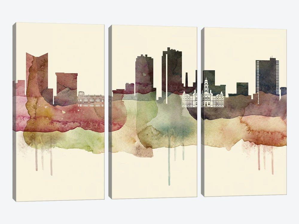 Fort Worth, Texas Desert Style Skyline by WallDecorAddict 3-piece Canvas Print