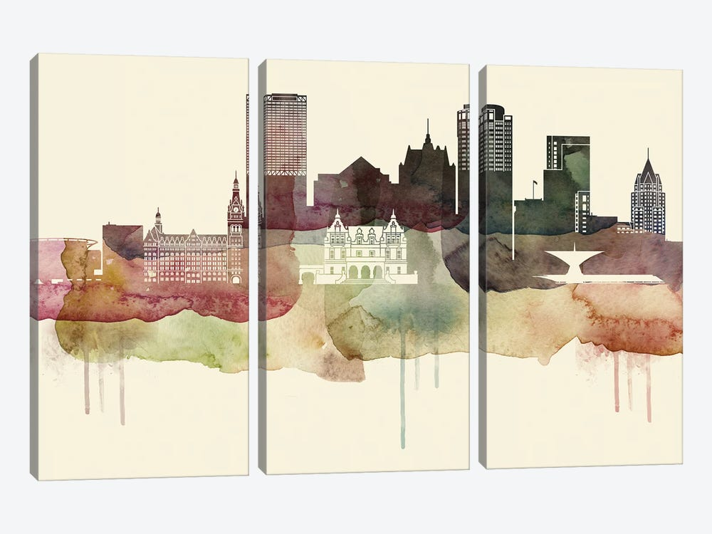 Milwaukee Desert Style Skyline by WallDecorAddict 3-piece Canvas Artwork