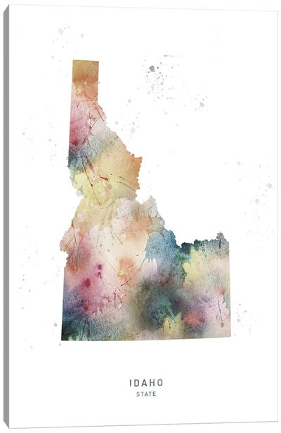 Idaho State Watercolor Canvas Art Print
