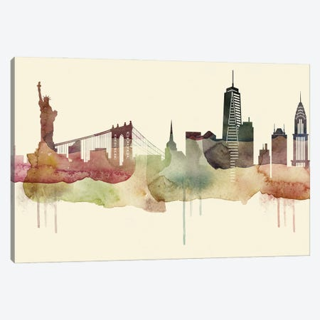 New York Desert Style Skyline Canvas Print #WDA1554} by WallDecorAddict Canvas Art Print