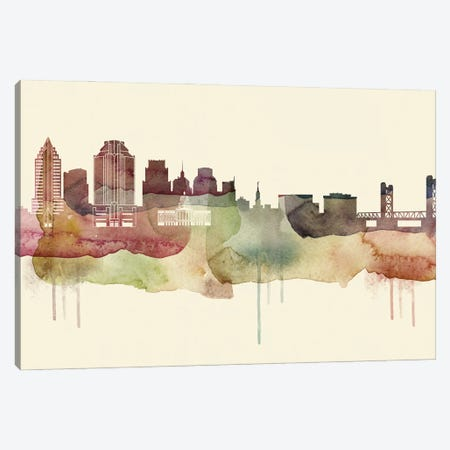 Sacramento Desert Style Skyline Canvas Print #WDA1570} by WallDecorAddict Canvas Artwork