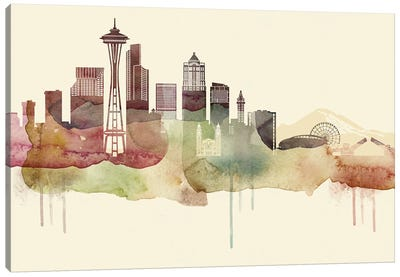 Seattle Desert Style Skyline Canvas Art Print