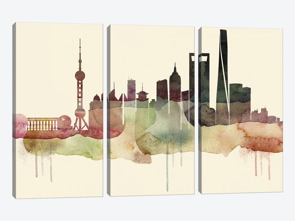 Shanghai Desert Style Skyline by WallDecorAddict 3-piece Canvas Art Print
