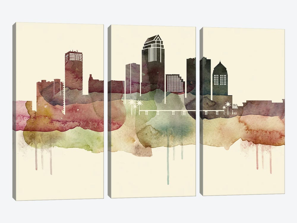 Tampa Desert Style Skyline by WallDecorAddict 3-piece Canvas Art