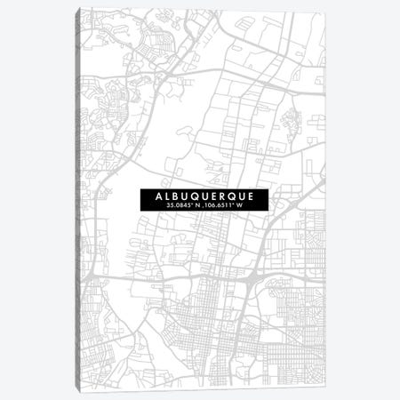 Albuquerque, New Mexico, City Map Minimal Style Canvas Print #WDA1589} by WallDecorAddict Canvas Print