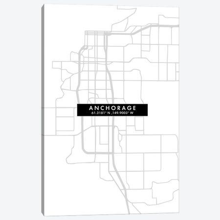 Anchorage City Map Minimal Style Canvas Print #WDA1591} by WallDecorAddict Canvas Artwork