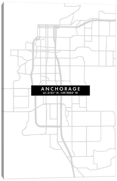 Anchorage City Map Minimal Style Canvas Art Print