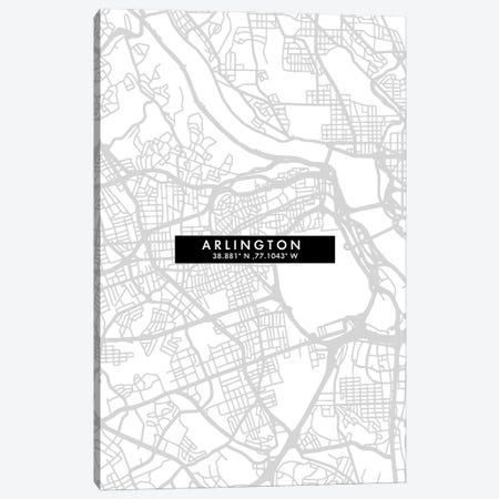 Arlington City Map Minimal Style Canvas Print #WDA1592} by WallDecorAddict Canvas Artwork