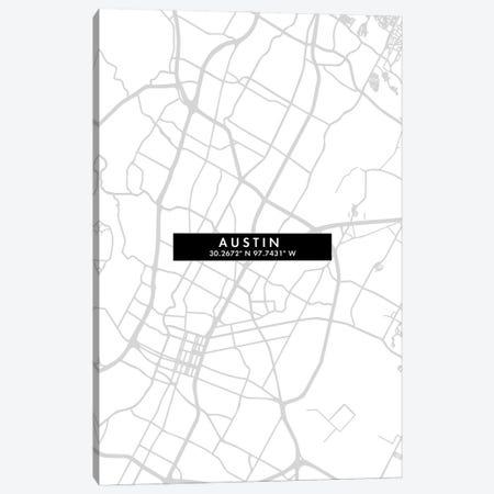 Austin City Map Minimal Style Canvas Print #WDA1595} by WallDecorAddict Art Print
