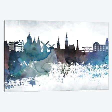 Amesterdam Bluish Skylines Canvas Print #WDA15} by WallDecorAddict Canvas Art Print