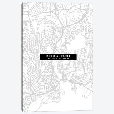 Bridgeport, Connecticut City Map Minimal Style Canvas Print #WDA1606} by WallDecorAddict Canvas Print