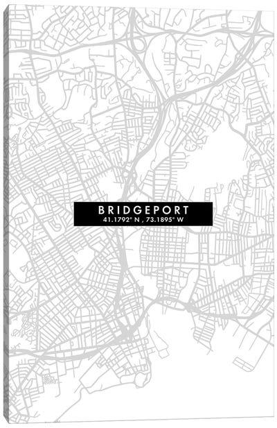 Bridgeport, Connecticut City Map Minimal Style Canvas Art Print